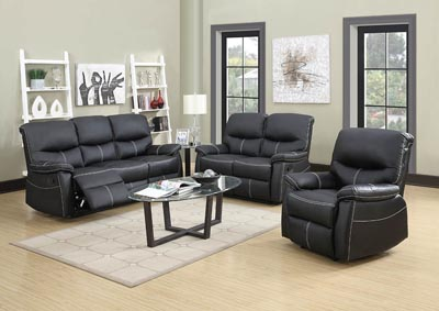 429143 Black Leather Look Double Reclining Sofa