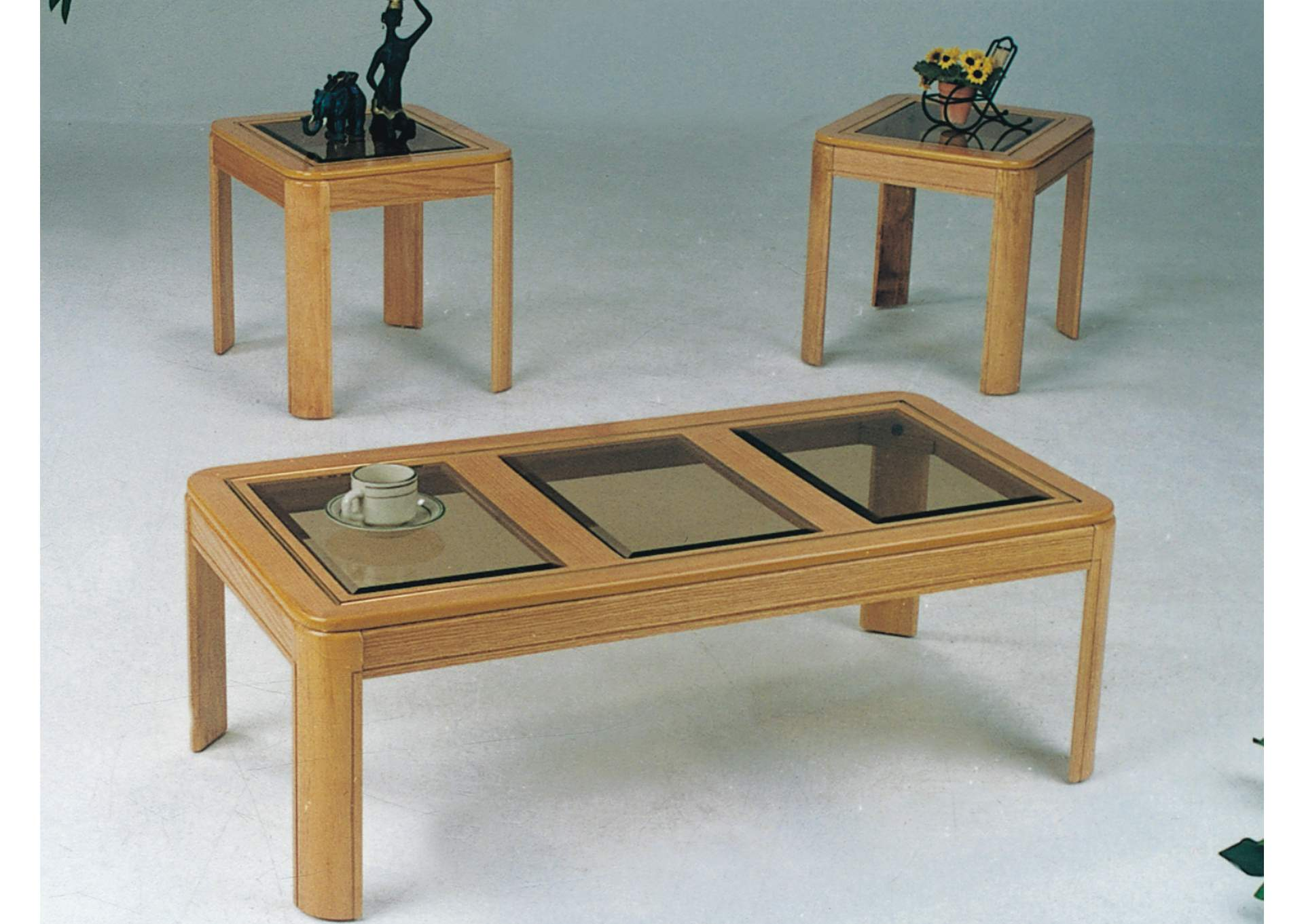 Roses Flooring And Furniture 3pc Oak Cocktail End Table Set