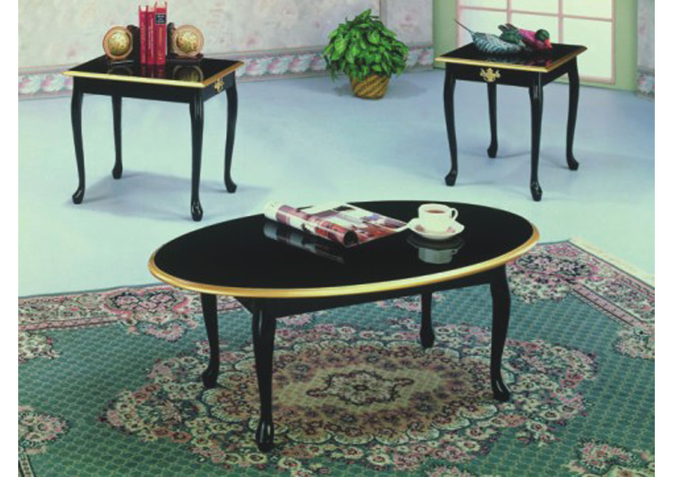 Roses Flooring And Furniture 3pc Black Queen Anne Coffee End Table Set