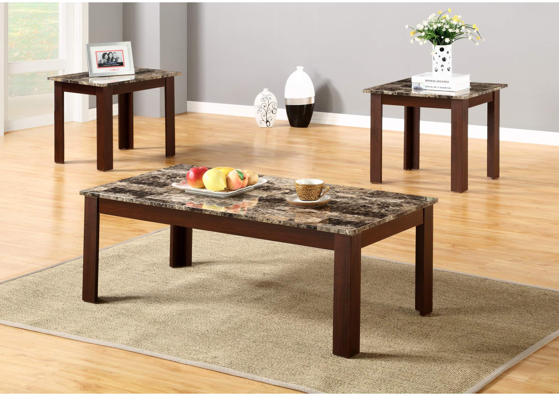 Roses Flooring And Furniture 3pc Faux Marble Top Coffee And End Table Set