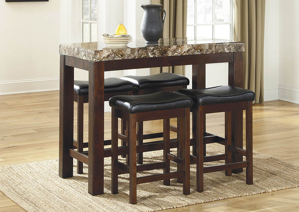 Roses Flooring And Furniture 3pc Faux Marble Counter Height Set