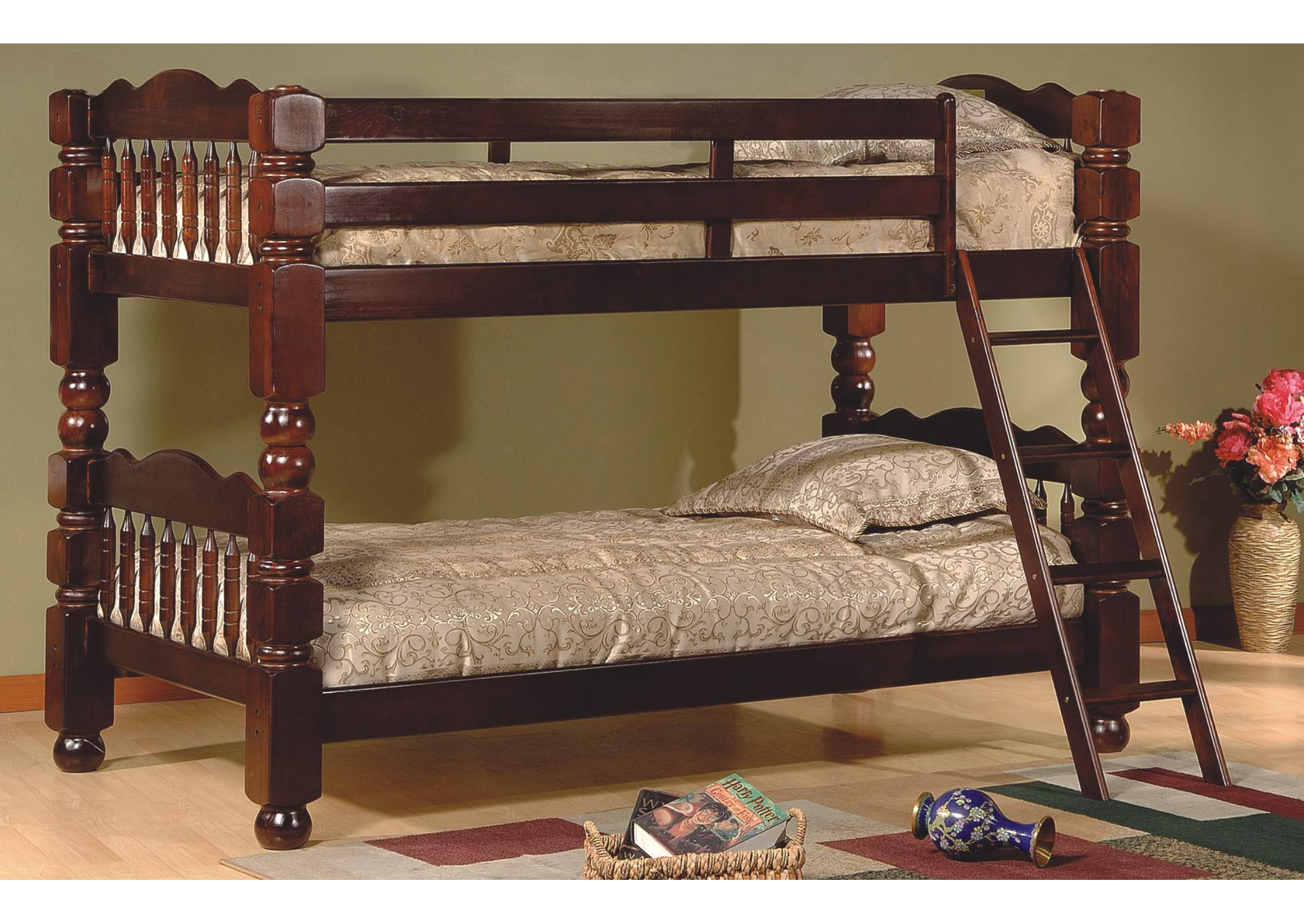 Shoppers World Flooring Furniture Cherry Finish Twin Twin Bunk Bed