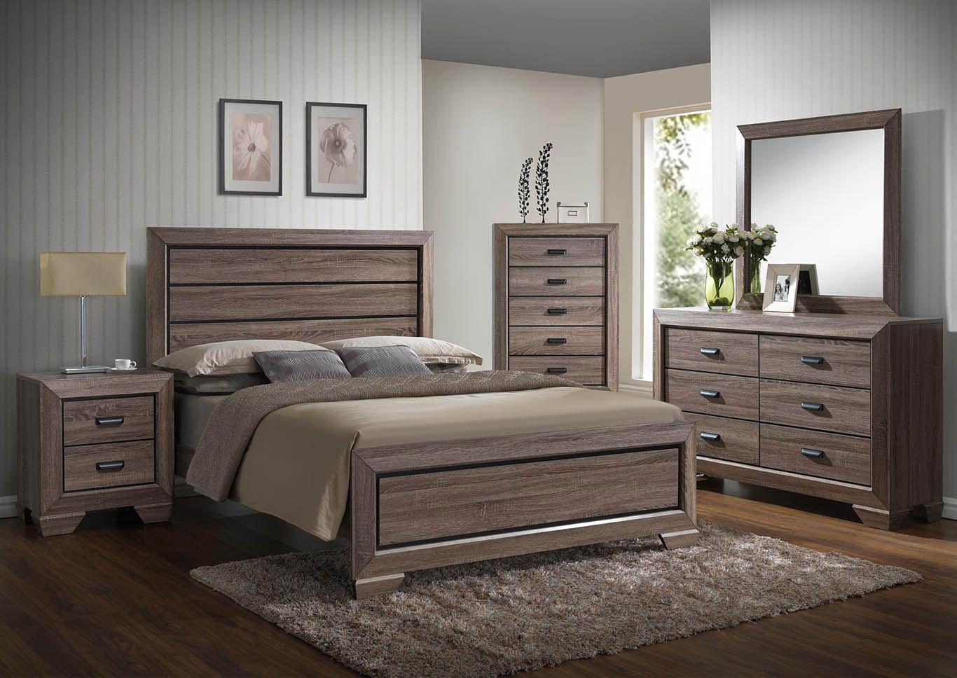 3 Piece Wooden Queen Bedroom Set,Global Trading