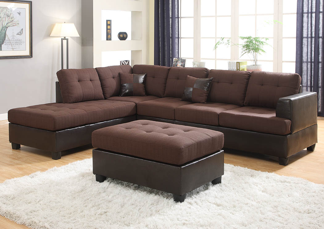 roses flooring and furniture chocolate reversible sectional w ottoman