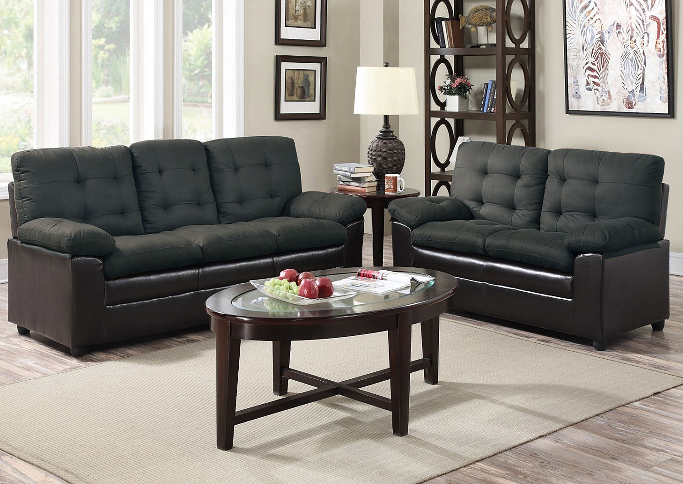 Roses Flooring And Furniture Grey Microfiber Loveseat