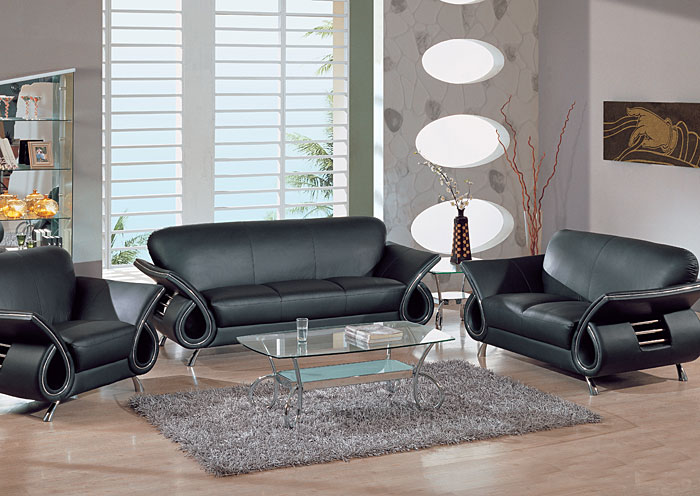 Black Leather Sofa & Loveseat,Global Furniture USA