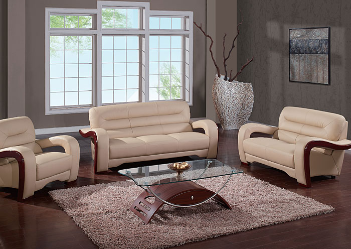Cappucino Bonded Leather Sofa & Loveseat,Global Furniture USA