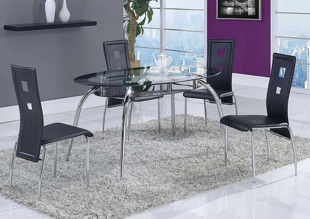 Black Dining Table w/4 Side Chairs,Global Furniture USA