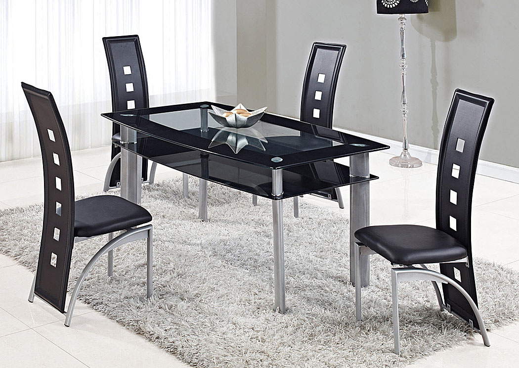 Clear w/Black Trim Dining Table,Global Furniture USA