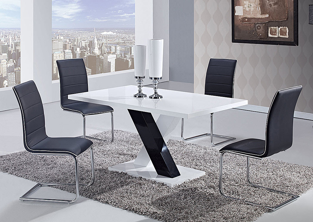 White High Gloss Dining Table 4 Black ChairsGlobal Furniture USA