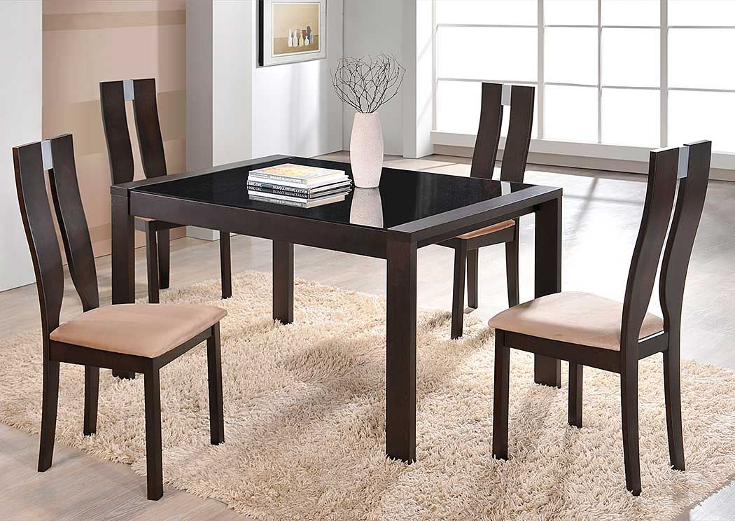Sleep Cheap Furniture   Jersey City, NJ Dark Walnut Dining Extension Table  W/4 Side Chairs