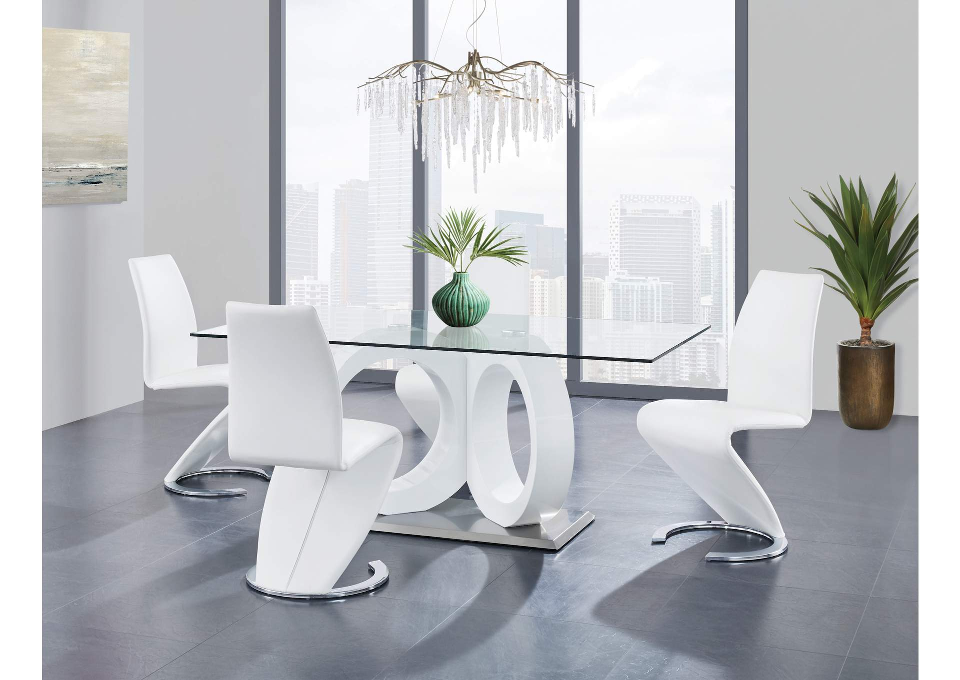 White Dining Table & 4 White Chairs,Global Furniture USA
