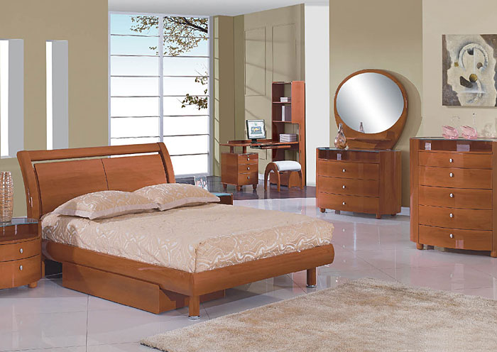 Emily Cherry Full Bed w/Dresser & Mirror,Global Furniture USA
