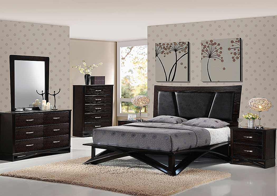 Fairmont King Bed w/Dresser, Mirror & Nightstand,Global Furniture USA