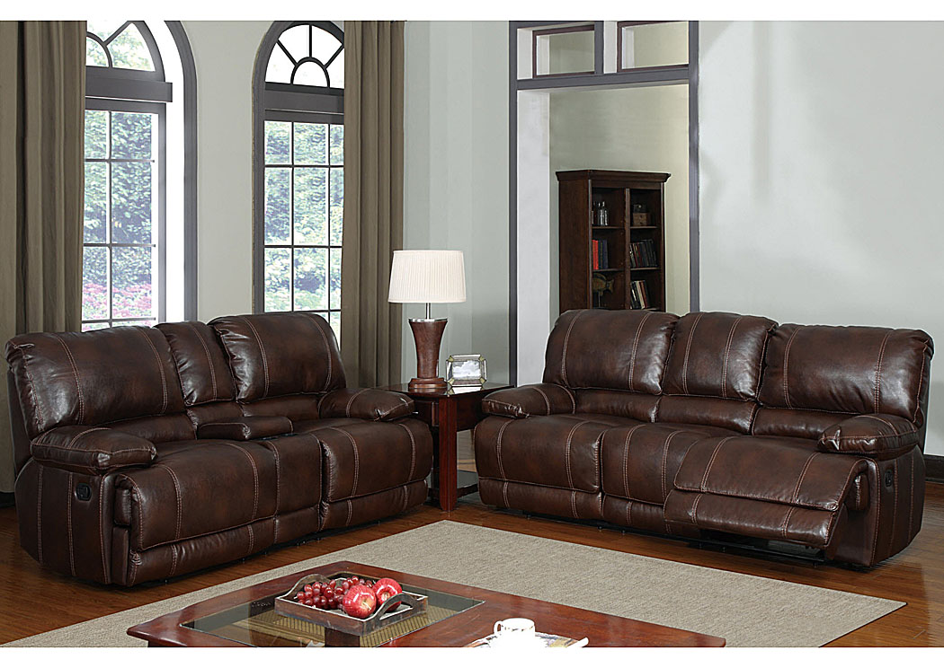 Flamingo Furniture Brown Bonded Leather Reclining Sofa