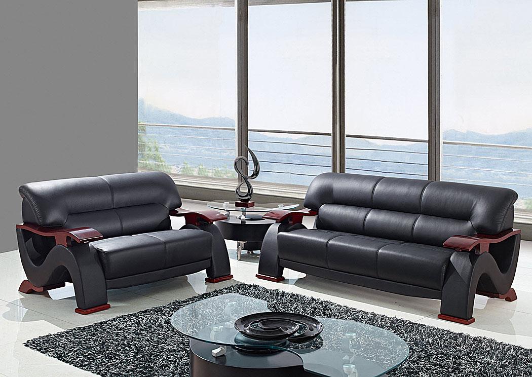 Long Island Discount Furniture Black Leather Match Sofa Loveseat