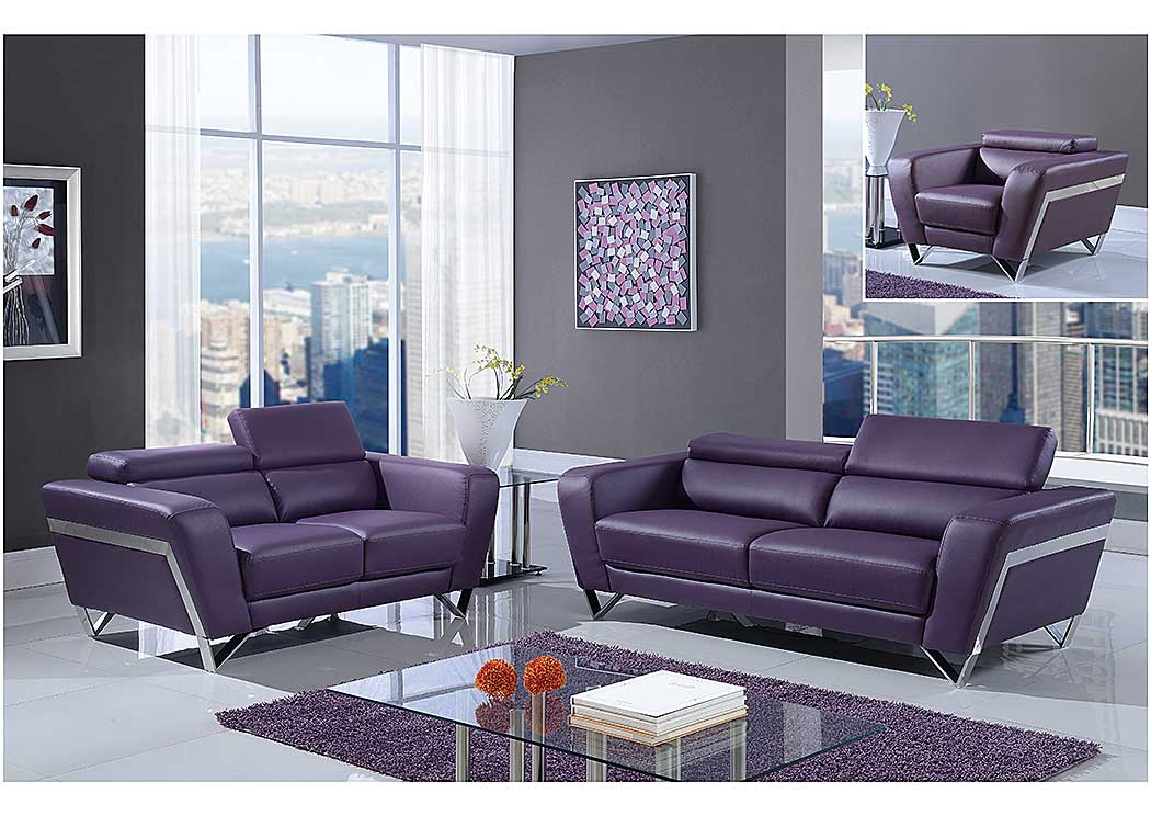 Natalie Purple Sofa, Loveseat & Chair w/Headrest Function,Global Furniture USA