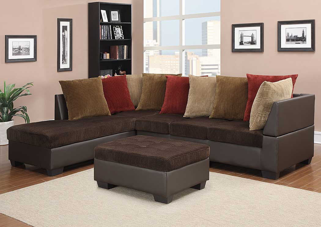 Corduroy Chocolate Brown Sectional u0026 OttomanGlobal Furniture USA : chocolate sectional with ottoman - Sectionals, Sofas & Couches