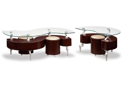 Mahogany & Glass Coffee Table w/2 Cappuccino Stools