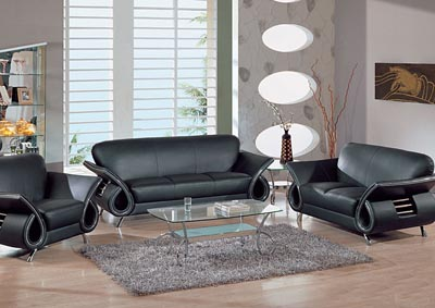 Black Leather Sofa & Loveseat