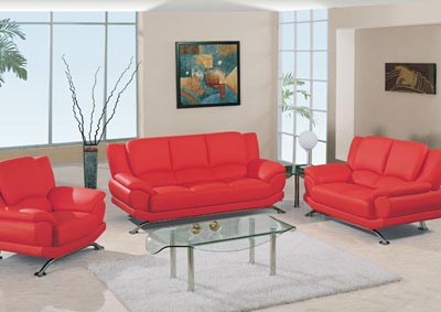 Red Bonded Leather Sofa & Loveseat