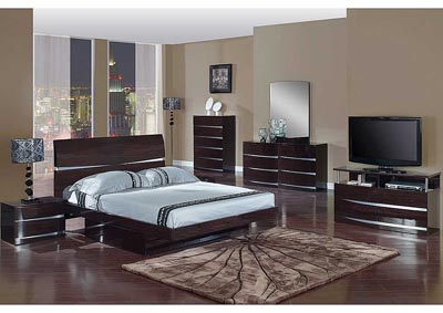 Aurora Wenge Full Bed w/Dresser & Mirror