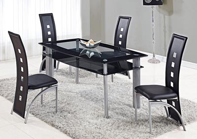 Clear w/Black Trim Dining Table