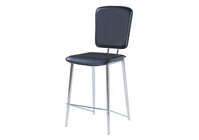 Black & Chrome Stool (Set of 2)