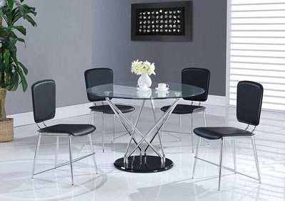Clear, Chrome & Black Dining Table w/4 Black Chairs