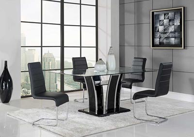 Black Dining Table U0026 4 Black Chrome Side Chairs
