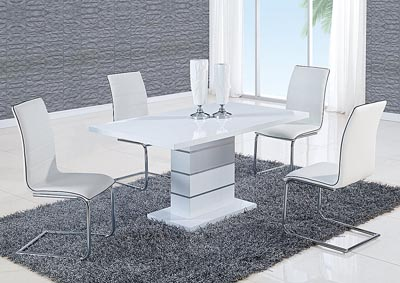 White High Gloss Dining Table & 4 White Chairs
