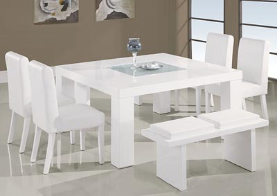 White Dining Table w/Frosted Glass Insert, 4 Chairs & Bench,Global Furniture USA
