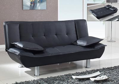 Black Faux Leather Sofabed,Global Furniture USA