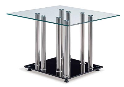 Clear/Black w/Stainless Steel Leg End Table