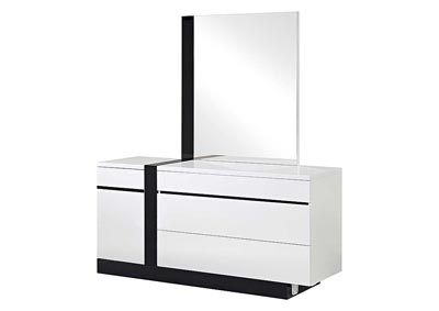 Trinity White Dresser w/Black Glossy Finish