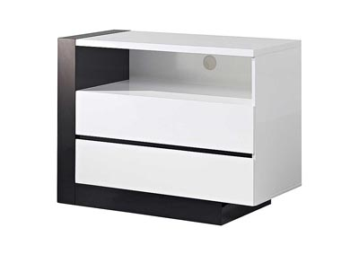 Trinity White Entertainment Unit w/Black Glossy Finish,Global Furniture USA