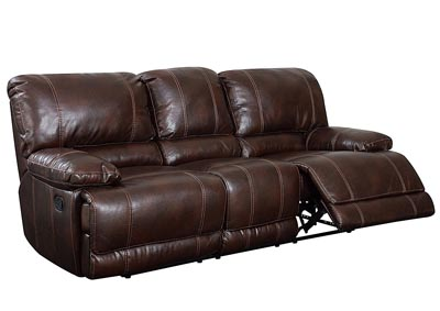 Brown Bonded Leather Reclining Sofa,Global Furniture USA