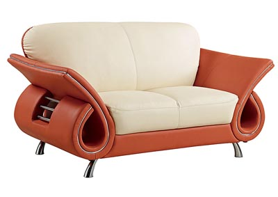 Beige & Orange Leather Loveseat,Global Furniture USA