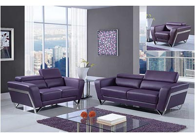 Natalie Purple Sofa, Loveseat & Chair w/Headrest Function