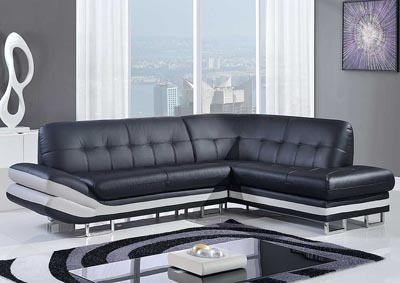 Natalie Black & Light Gray 2Pc Sectional,Global Furniture USA