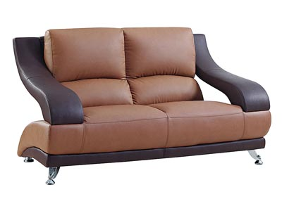 Brown Leather Loveseat,Global Furniture USA