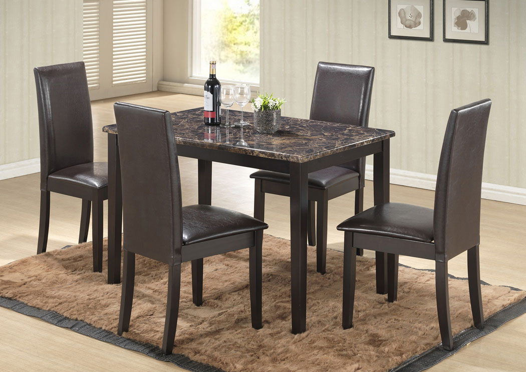 Best Buy Furniture And Mattress Brown Faux Marble Table W 4 Side Chairs