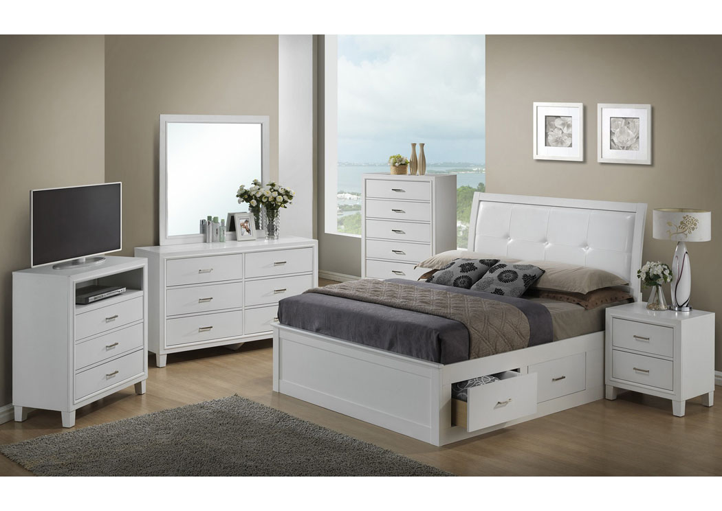 White Queen Storage Bed, Dresser & Mirror,Glory Furniture