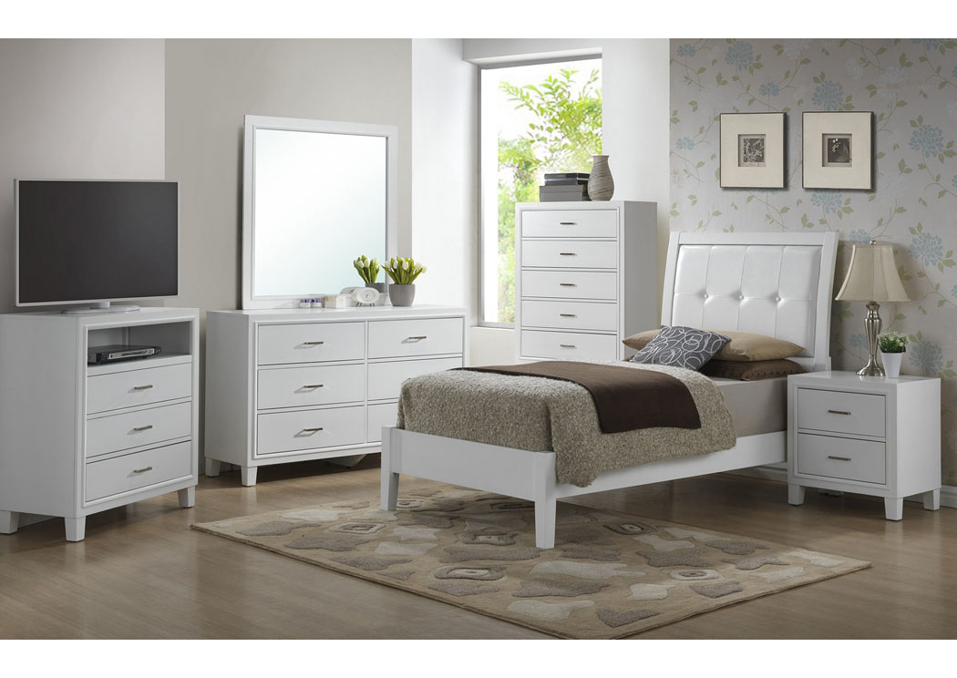 White Twin Bed, Dresser, Mirror & Night Stand,Glory Furniture