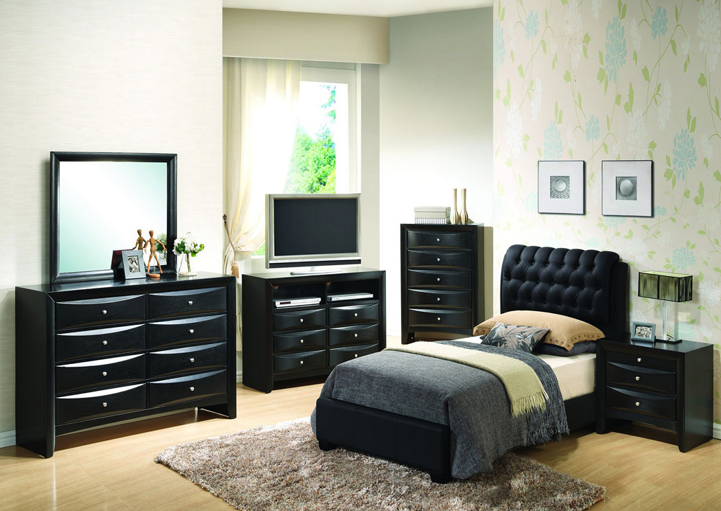 Furniture Direct Bronx Manhattan New York City Ny Black Full Upholstered Bed Dresser Mirror
