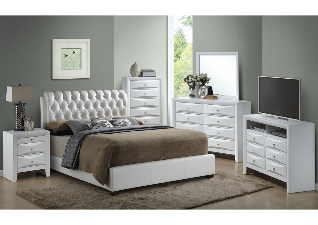 White Queen Upholstered Bed, Dresser & Mirror,Glory Furniture