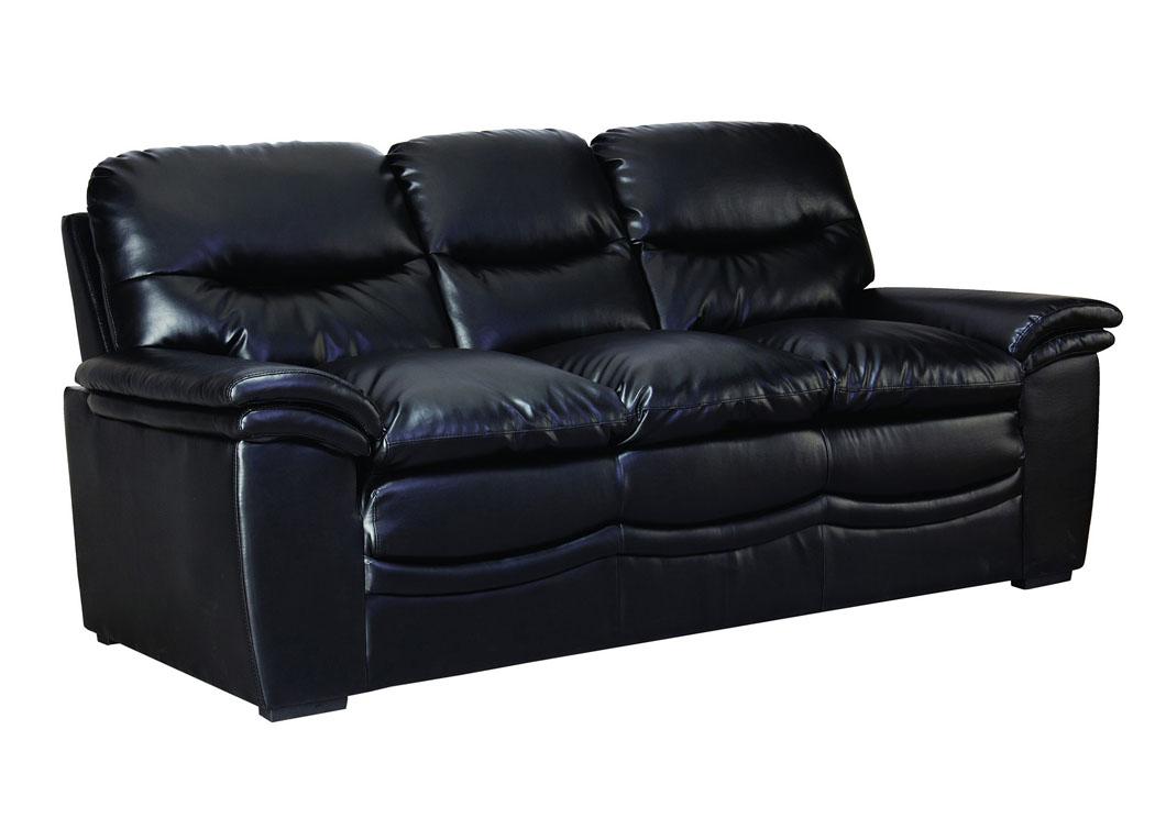 Furniture Zone Black Bonded Leather Sofa