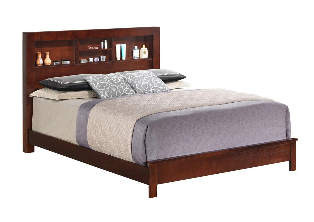 Best Buy Furniture And Mattress Cherry Queen Bed W Bookcase Headboard