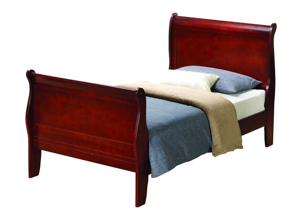 Family Discount Furniture Cherry Twin Sleigh Bed