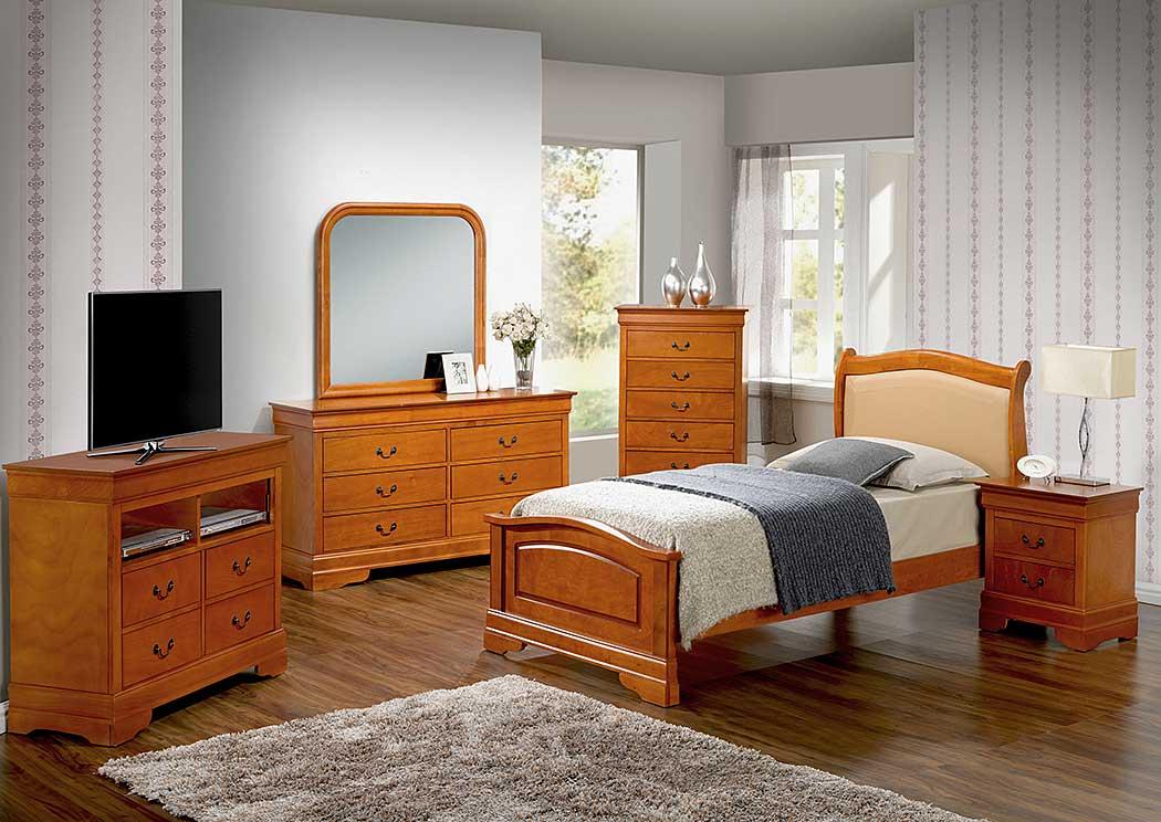 Family Discount Furniture Oak Full Low Profile Bed W Pu Insert Dresser Mirror Nightstand